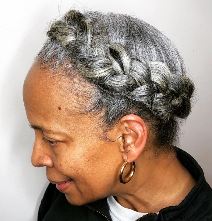 Crown-Braid Glamorous Grey Hairstyles for Older Women