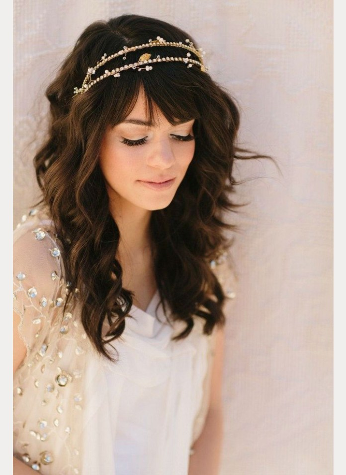 Curly-Open-Hair-with-Bangs-and-Pearl-Headband Most Beautiful Wedding Hairstyles with Bangs
