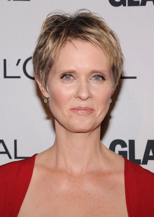 Cynthia-Nixon-Layered-Short-Pixie-Cut Hottest Short Layered Hairstyles For Women Over 50