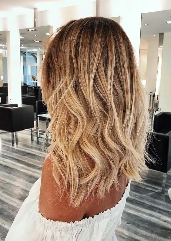 Golden-Blonde-Hair-Color-Ideas Shoulder-length hairstyles, the most popular hairstyle