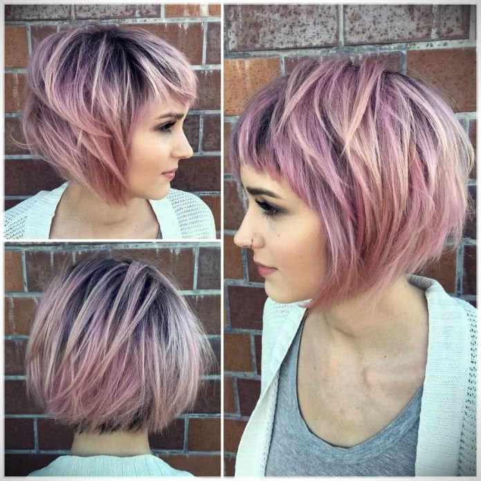 Layered-Angled-Bob-with-Bangs Short Hair Trends for Stylish and Gorgeous Look