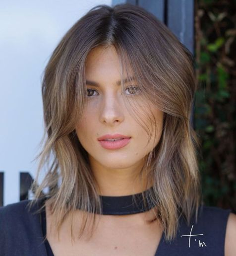Lob-with-Curtain-Like-Bangs 6 Tips to choose the right hairstyles for square faces