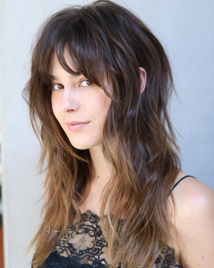 Long-Shag-with-Curled-Bangs Modern Shag Haircut for Utter Stylish Look