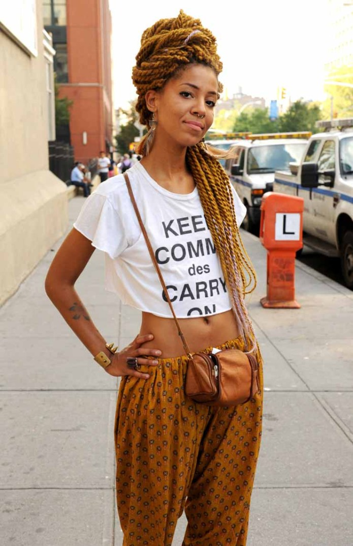 Long-and-Bold-Mustard-Braids Tribal Braids for Super Trendy Appearance