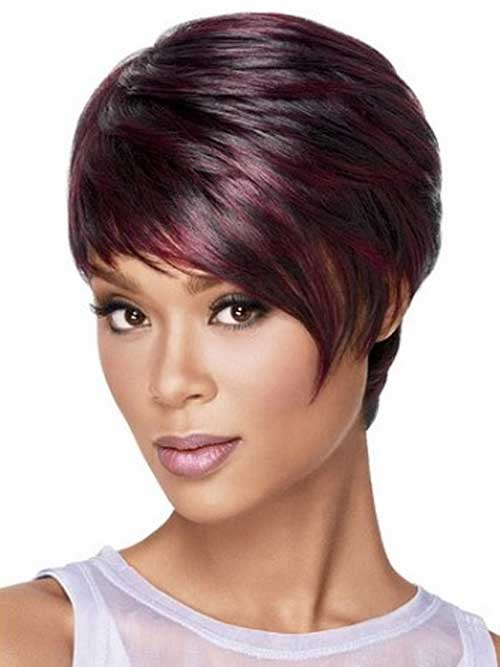 Maroon-Ombre-Color-Short-Pixie-Hair-Style Short Hairstyle Color Ideas