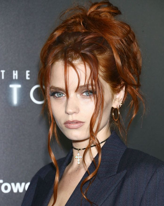 Messy-Updo Redhead Hairstyles for Sultry and Sassy Look
