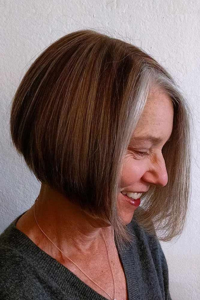 Middle-Parted-Straight-Bob Easy Hairstyles for Women Over 50