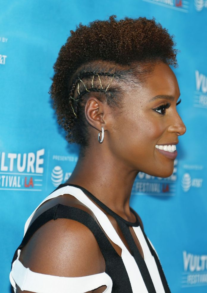 Permed-Upward-Hair-with-Side-Cornrow Short Hairstyles for Black Girls to Look Flawless