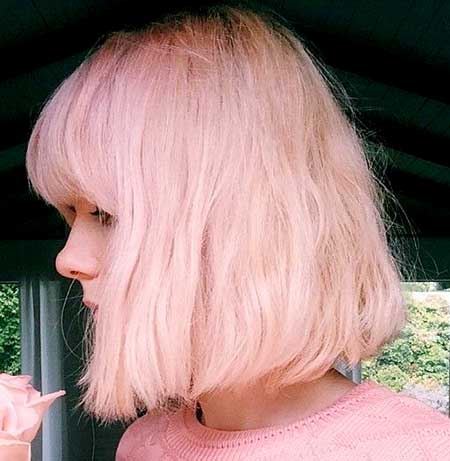 Pink-Colored-Wavy-Hair-for-Women Short Hair Colors Ideas 2020