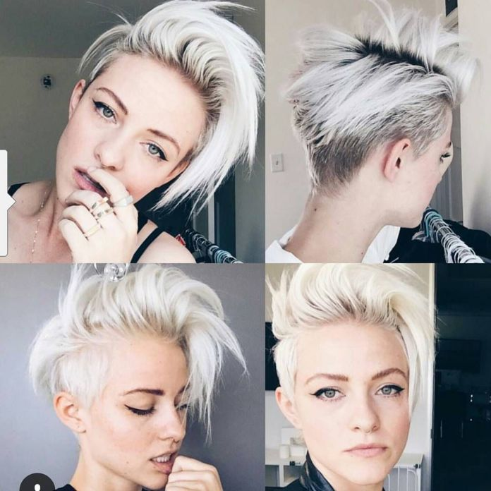 Platinum-Blonde-Pixie-Cut-with-Long-Layer Short Hair Trends for Stylish and Gorgeous Look