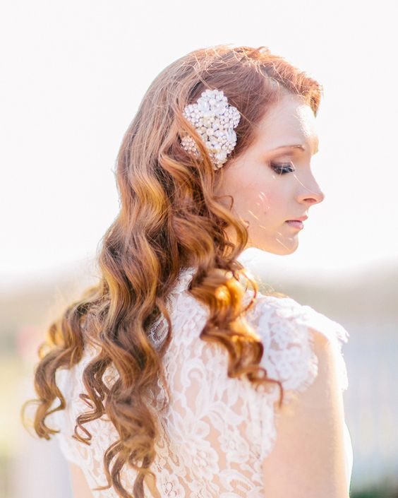 Red-Natural-Style-Curls-With-Adornment 15 Stunning Bridal Hairstyles