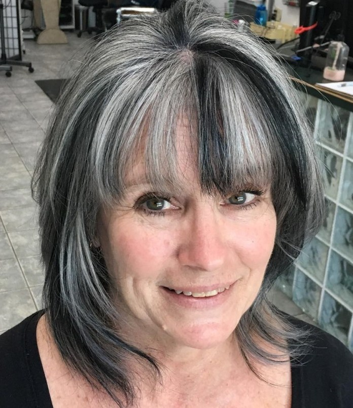 Shadow-Wings Glamorous Grey Hairstyles for Older Women