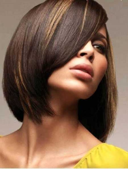 Short-Brown-Bob-Blonde-Highlights Short hair color ideas
