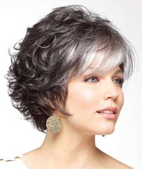 Short-Curly-Hairstyle-with-Short-Bangs Short Hairstyles for Older Women
