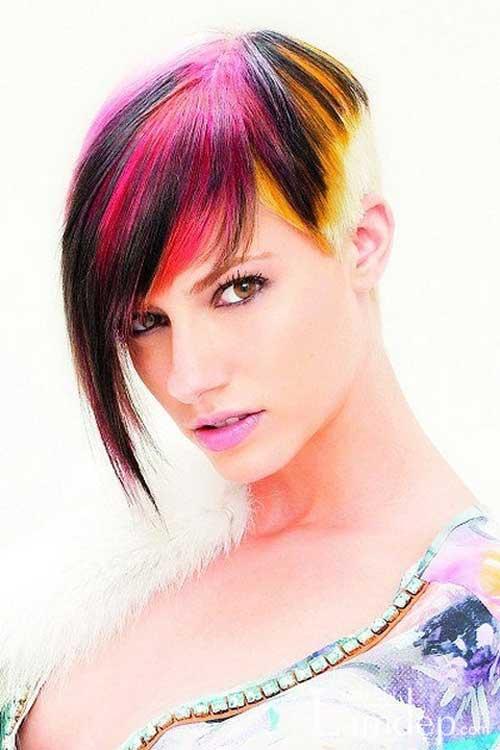 Short-multi-colored-hair Best Hair Color for Short Hair