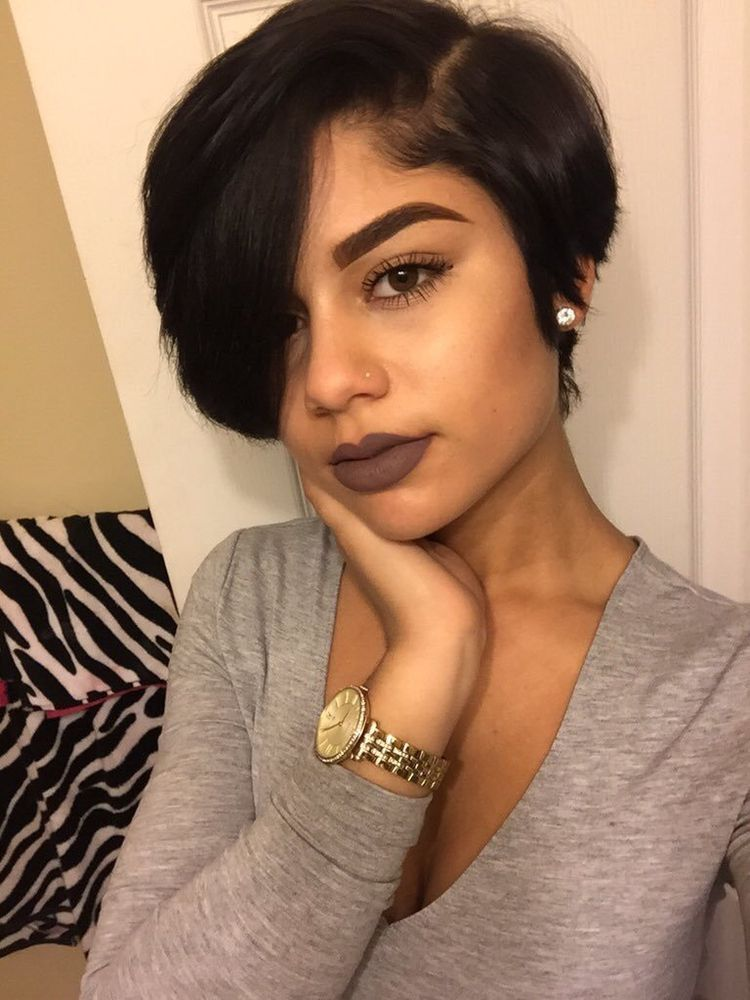 Side-Parted-Hair-with-Longer-Bangs Short Hairstyles for Black Girls to Look Flawless