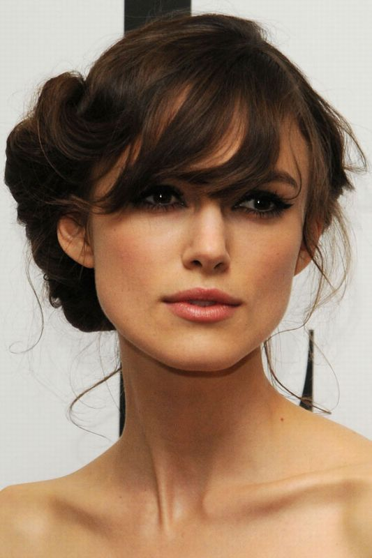 Side-Puff-Crown-Style-Hairdo-with-Front-Streaked-Bangs Most Beautiful Wedding Hairstyles with Bangs