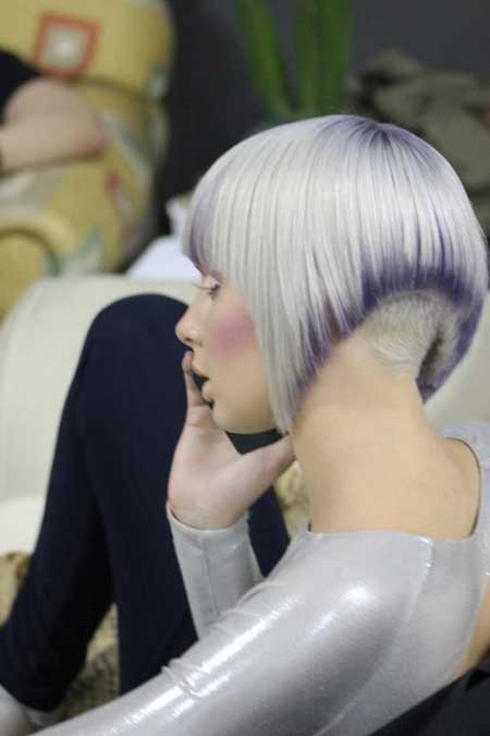 Silver-and-Purple-Gorgeous-Look Short hair color ideas