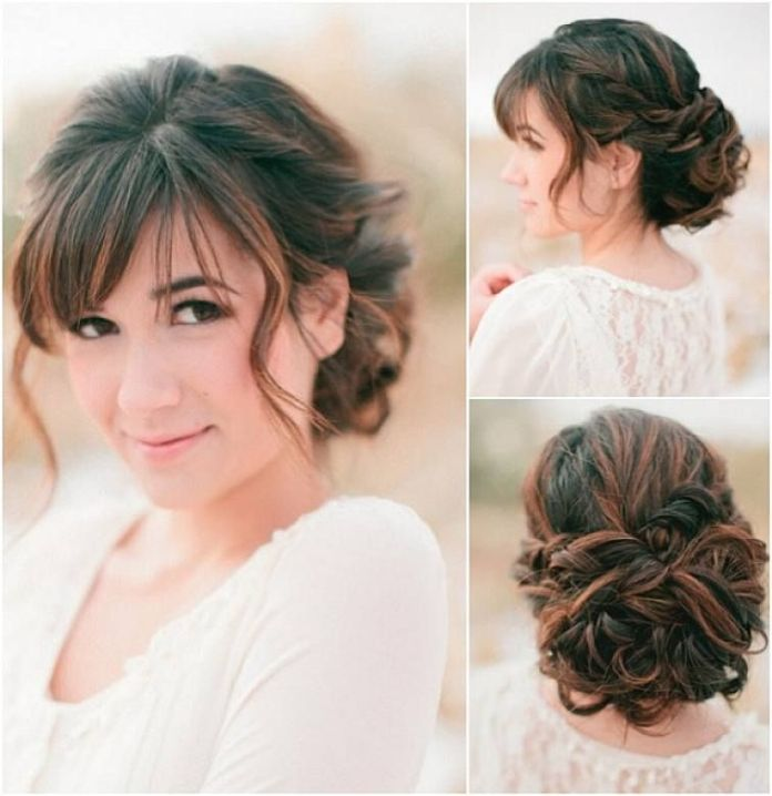 Two-Toned-Streaked-Bun-with-Short-Front-Bangs Most Beautiful Wedding Hairstyles with Bangs