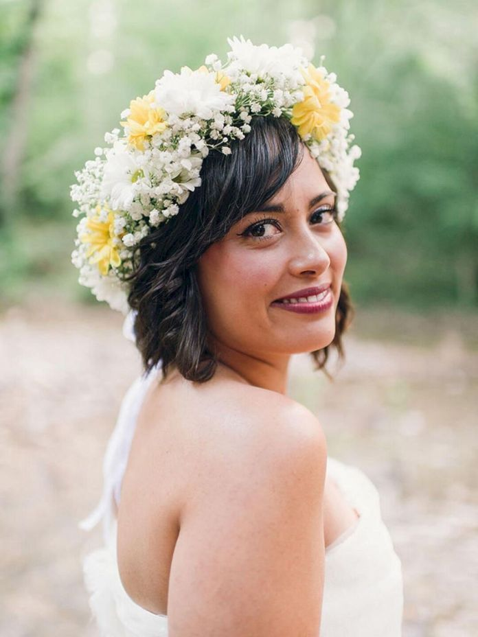 Ultimate-Bridal-Hairdo-with-Curly-Bangs-and-Floral-Tiara Most Beautiful Wedding Hairstyles with Bangs