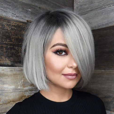 8-sleek-gray-bob-with-charcoal-roots 20 Stylish and Chic Bobs for Round Faces