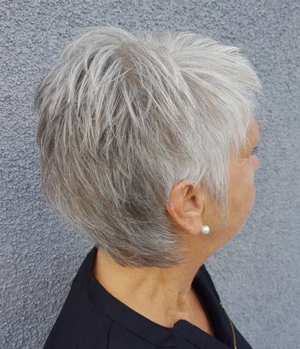 Airy-Gray-Pixie-with-Lots-of-Layers 15 Beautiful pixie cuts for older women