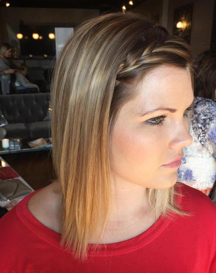 Blonde-Hair-in-an-Angled-Cut Most Trendy and Terrific Medium Hairstyles 2020