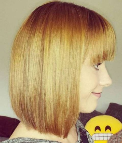 Blunt-Golden-Bob-with-Bangs 15 Graceful Hairstyles for Fine Straight Hair