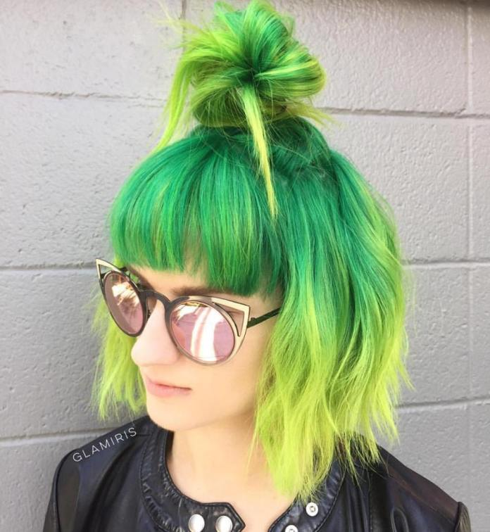 Bold-Colored-Bun Quick and Easy Short Hair Buns to Try