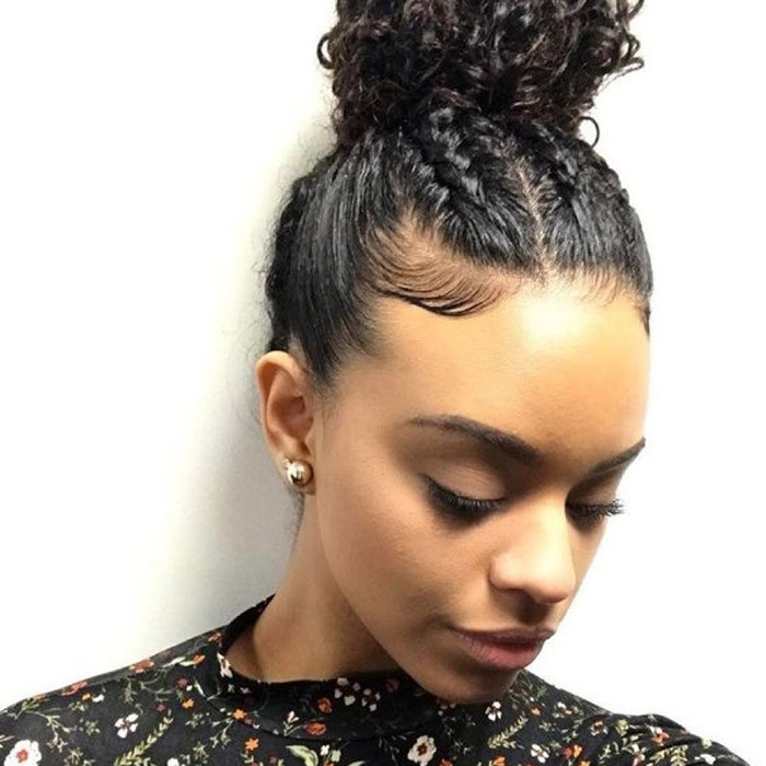 Braided-bun Quick and Easy stunning Updos for Curly Hair