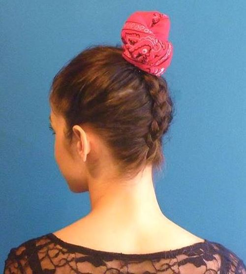 Bun-Updo-with-Braided-Back Quick and Easy Short Hair Buns to Try