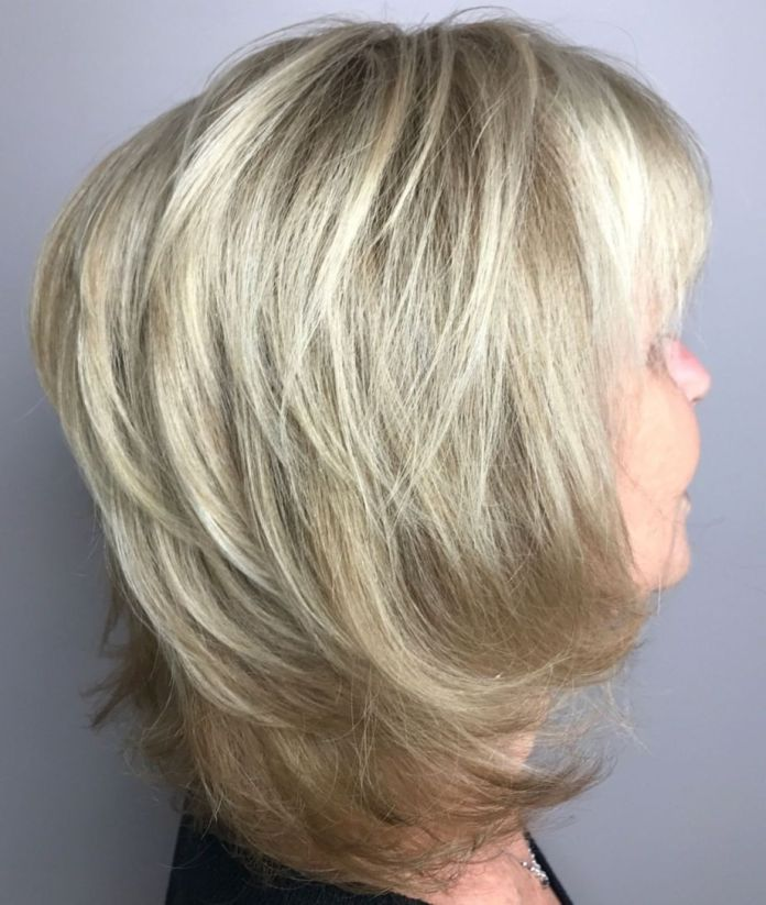 Chin-Length-Haircut-with-Elongated-Back Shaggy Hairstyles for Women with Fine Hair over 50