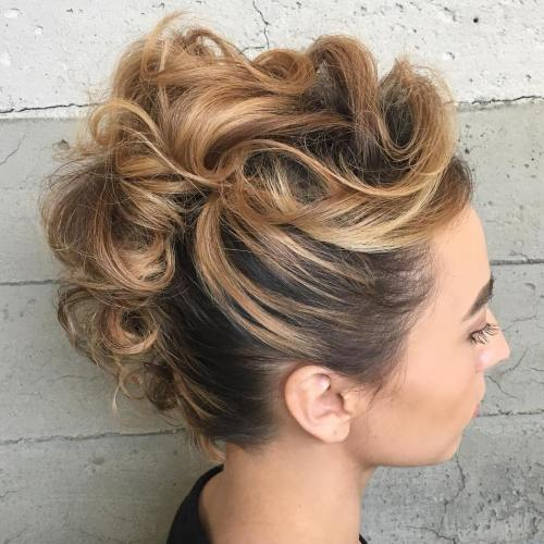 Curly-Mohawk-Updo 15 eye-catching Prom Hairstyles for Short Hair