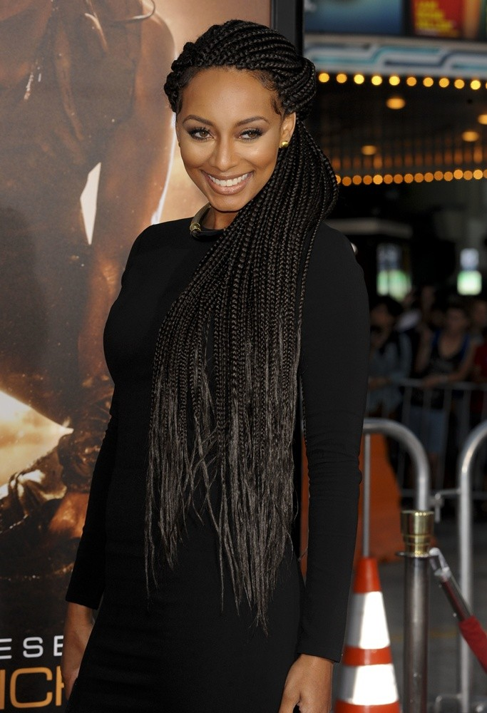 Diagonal-Thin-Cornrow-Braids-All-Over-Tied-with-Side-Partition Awesome Long Hairstyles for Black Girls