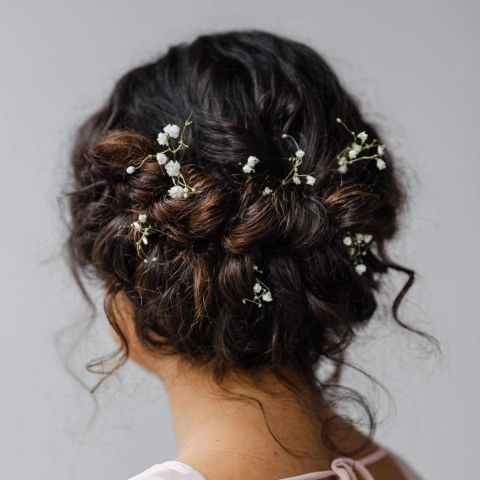 Enchanted-Updo-with-Sweet-Tendrils-and-Flowers Quick and Easy stunning Updos for Curly Hair
