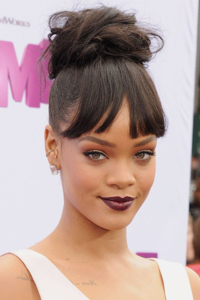 Hairstyles-with-bangs-Topknot-with-Fringe 16 eye-catching Hairstyles with bangs