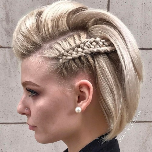 Half-Mohawk-with-Macrame-Braid 15 eye-catching Prom Hairstyles for Short Hair