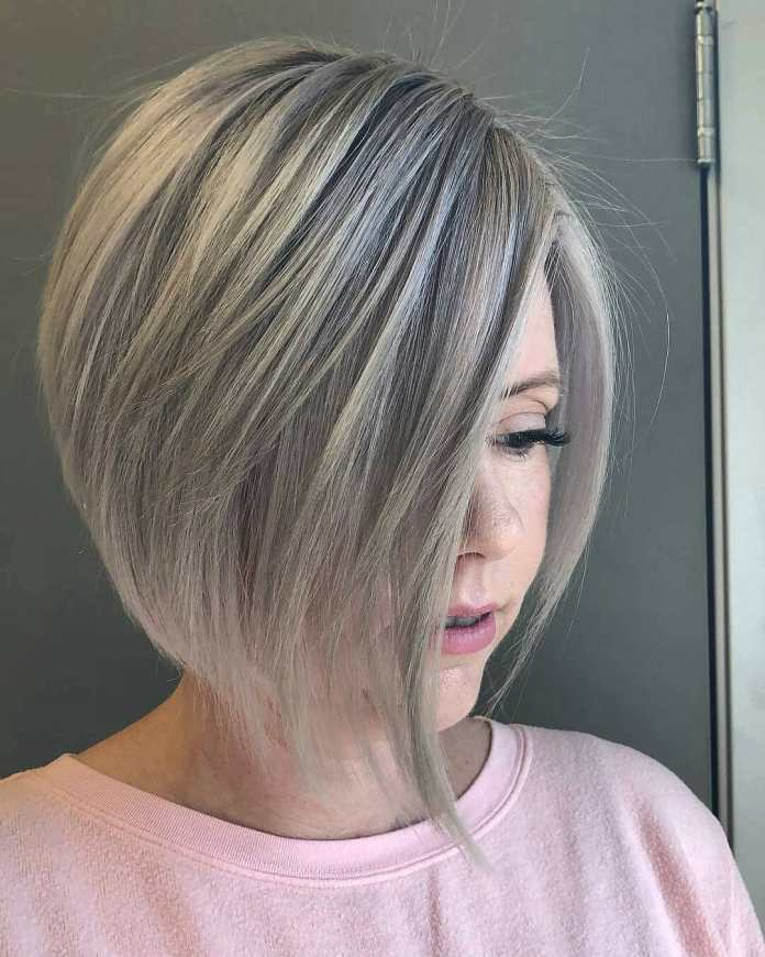Icy-Blonde-Layered-Bob Roaring and Attractive Short Hairstyles 2020