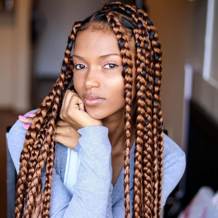 Knotless-Brown-Braids Endearing Jumbo Box Braids to Look Amazing