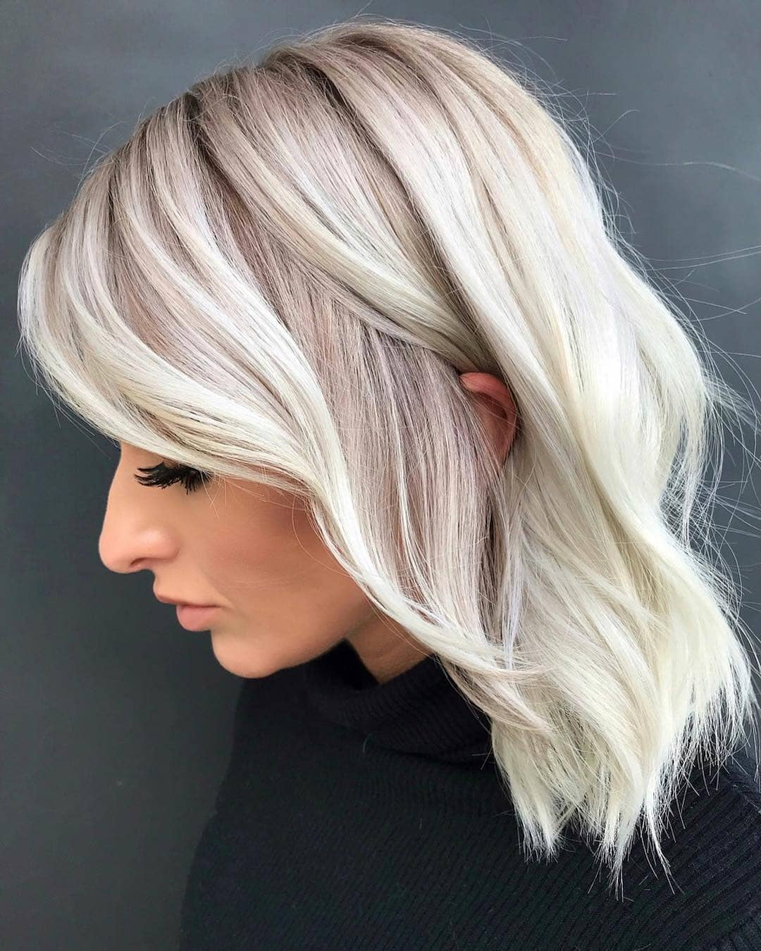 Layered-Haircut-in-Silver-Blonde Most Trendy and Terrific Medium Hairstyles 2020