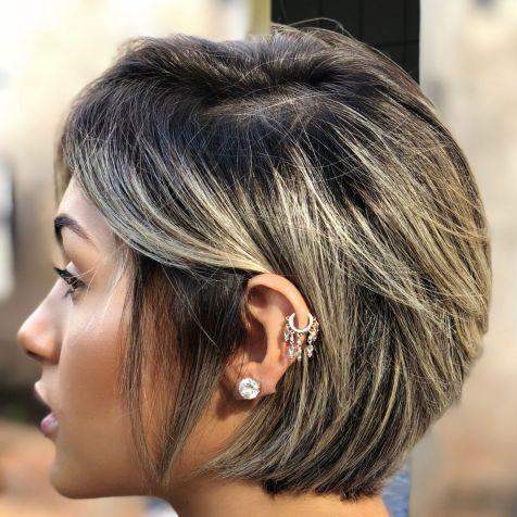 Long-Pixie-with-Golden-Blonde-Balayage 12 Stunning short layered bob haircuts