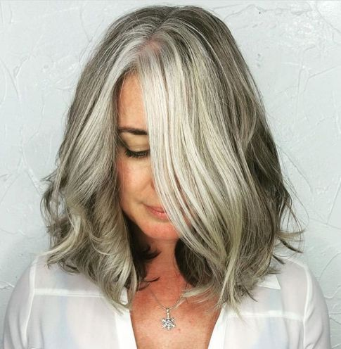 Medium-Gray-Balayage-Hairstyle-for-Thick-Hair 14 Stylish Gray Hair Styles for older women