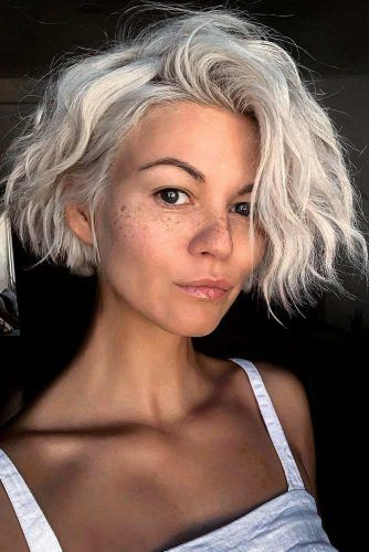 Messy-Wavy-Ice-Blonde-Short-Bob 12 Best Short Haircuts For 2020