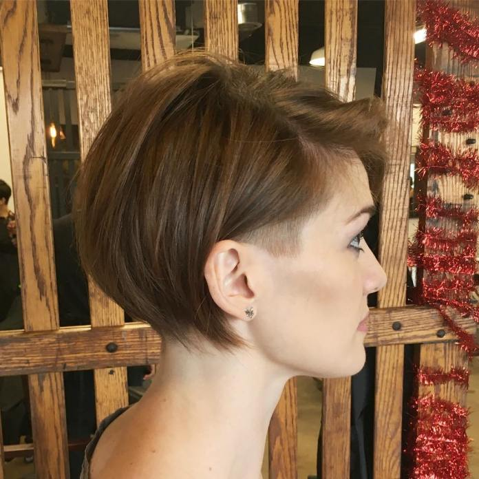 Short-Bob-with-Shaved-Sideburns. 15 Graceful Hairstyles for Fine Straight Hair