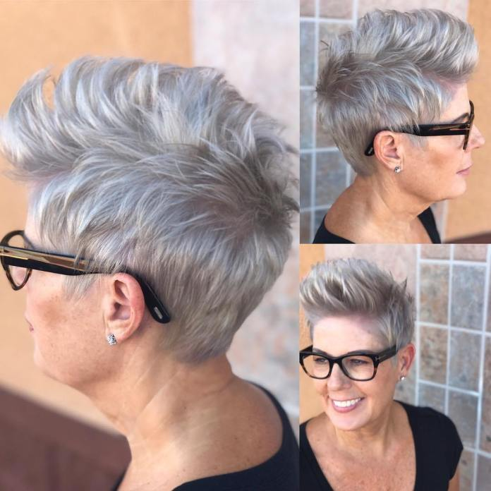 Spiky-Gray-Pixie Short Hairstyles for Older Women Who Want a Timeless Look