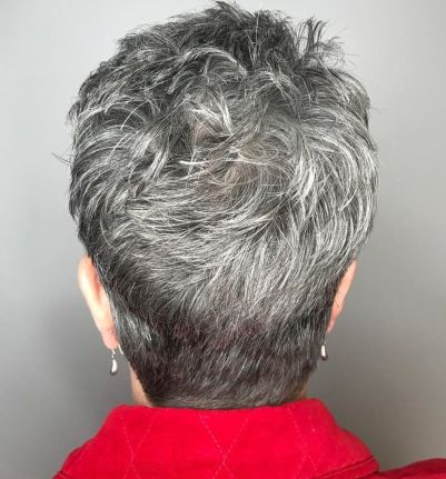 Tapered-Gray-Pixie-with-Textured-Crown 15 Beautiful pixie cuts for older women