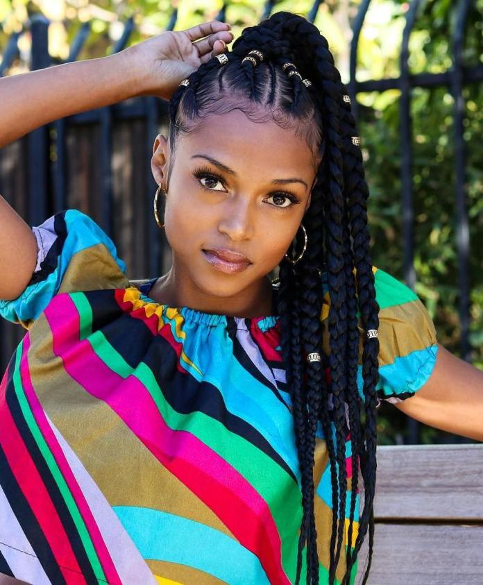 Thick-and-Thin-Cornrow-Braids-Accessorized-with-Metal-Beads Awesome Long Hairstyles for Black Girls