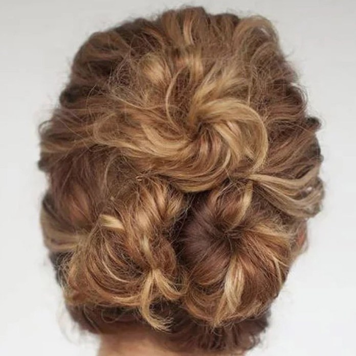 Three-twisted-buns Quick and Easy stunning Updos for Curly Hair