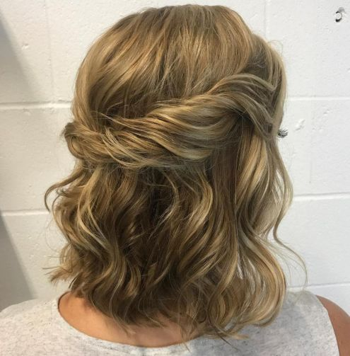 Twisted-Crown-Half-Updo 12 Stunning Updos For Medium Length Hair