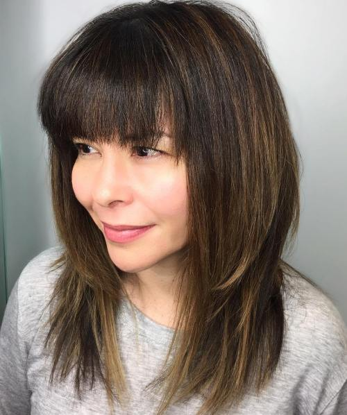 medium-layers-with-full-bangs Best Hairstyles for Heart-Shaped faces